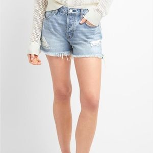 """High Rise 3"""" Light Wash Jean Shorts Distressed"""